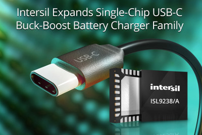 Intersil Releases New Single-Chip USB-C Buck-Boost Battery Charger