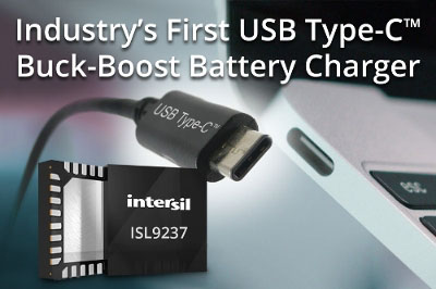 Intersil Releases New USB-C Buck-Boost Battery Charger IC