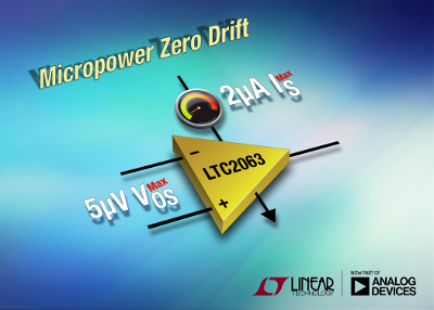 Linear Technology Releases New Micropower Op-Amp Consuming Only 1.3uA