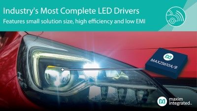 Maxim Releases Compact LED Drivers with High Efficiency and Low EMI