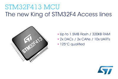 New STM32F413 Microcontrollers From STMicroelectronics Feature Up To 1.5MB Flash Memory