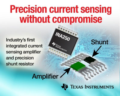 TI Releases New Current Sense Amplifier with Integrated Low-Drift Shunt Resistor