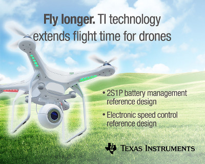 TI Releases New Reference Design for Battery Management and Motor Control in Drones