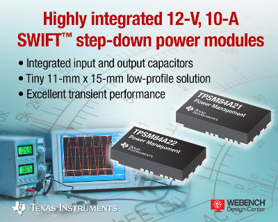 TI Releases Industry Smallest 12-V, 10-A DC/DC Step-Down Power Solution