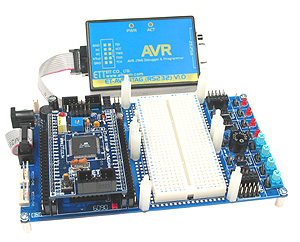 Click for Larger Image - ET-AVR JTAG with the new ET-AVR Stamp and Stamp Board