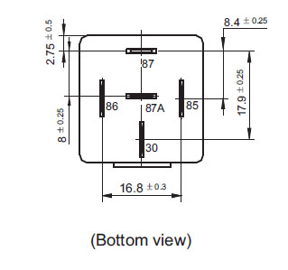 horn12vdcspst - spst 12vdc 40a horn relay technical data, Wiring diagram