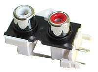 2 X 1 PCB Mount RCA Sockets - Standard Contacts