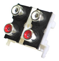 2 X 2 PCB Mount RCA Sockets - Standard Contacts