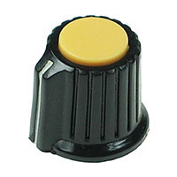 KNOB10 - Black Plastic Yellow Top Knob with Pointer