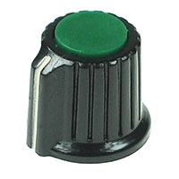 KNOB11 - Black Plastic Green Top Knob with Pointer