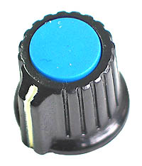 KNOB12 - Black Plastic Blue Top Knob with Pointer
