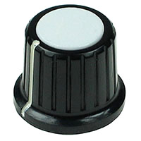 KNOB13 - Large Black Plastic White Top Knob with Pointer