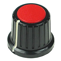 KNOB14 - Large Black Plastic Red Top Knob with Pointer