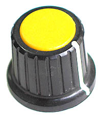 KNOB15 - Large Black Plastic Yellow Top Knob with Pointer