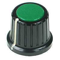 KNOB16 - Large Black Plastic Green Top Knob with Pointer
