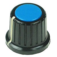 KNOB17 - Large Black Plastic Blue Top Knob with Pointer