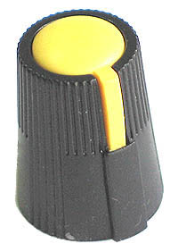 KNOB24 - Small Black Plastic Yellow Top Knob with Pointer