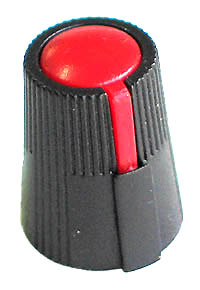 KNOB25 - Small Black Plastic Red Top Knob with Pointer