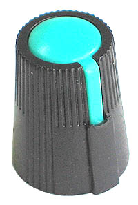 KNOB26 - Small Black Plastic Green Top Knob with Pointer