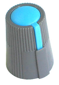 KNOB29 - Small Grey Plastic Blue Top Knob with Pointer