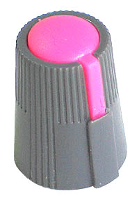 KNOB31 - Small Grey Plastic Pink Top Knob with Pointer