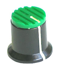 KNOB34 - Serrated Black Plastic Green Top Knob