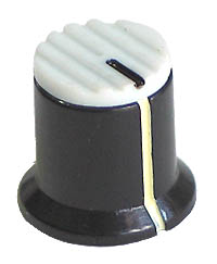 KNOB37 - Serrated White Plastic Red Top Knob