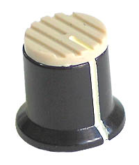 KNOB40 - Serrated Black Plastic Cream Top Knob