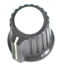 KNOB8 - Black Plastic White Top Knob with Pointer