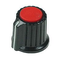 KNOB9 - Black Plastic Red Top Knob with Pointer