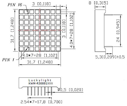 LEDMS88WH-CC - White Square 8x8 Common-Cathode Led Matrix Display Dimensions