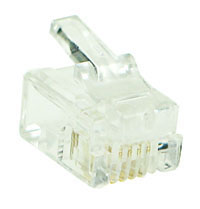 MODP6W4W - 6 Way-4 Wire (RJ12) Modular Crimp Plug