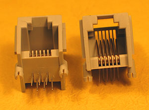 MODS6W6W - 6 Way - 6 Wire (RJ12) PCB Mount Modular Socket
