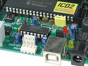 Click for Larger Image - PIC18F4550 Development Board USB Connection