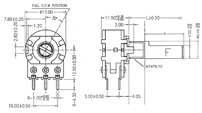 POT100KBDUALSHD - 100K Linear Dual Taper Potentiometer Dimensions
