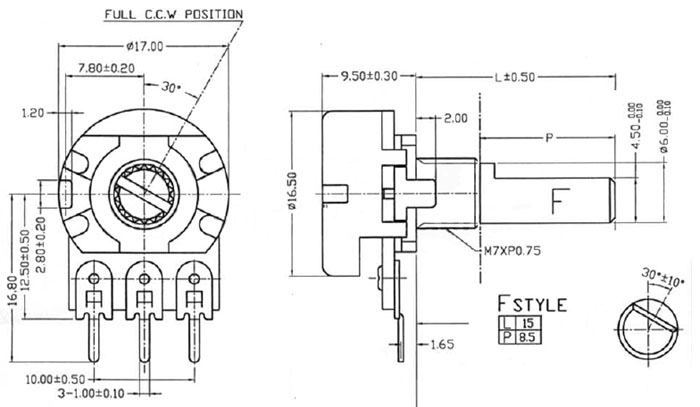 POT1MASHAFTD - 1M Logarithmic Taper Potentiometer with D-Type Shaft Dimensions