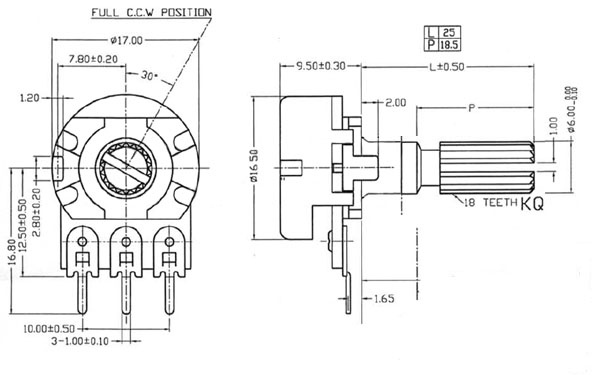 POT100KBDETENT - 100K Linear Taper Potentiometer with Center Detent Dimensions