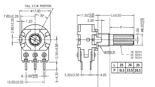 POT1KDUAL - 1K Linear Dual Taper Potentiometer Dimensions