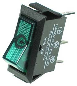 Automotive Green Rocker Switch with Lamp