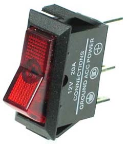 Automotive Red Rocker Switch with Lamp