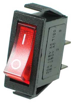 Basic SPST Red Rocker Switch