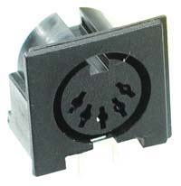 DIN 5 Pin Right Angle PCB Mount Socket