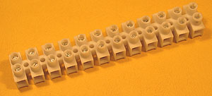 TERM6A - 12 Way 6A PVC European Style Terminal Block